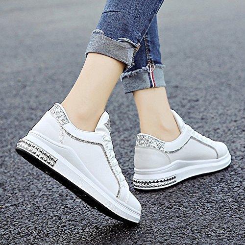 Cruzado Correas Remaches Amortiguado con Gruesos Zapatos Blancos Femeninos Cómodos Zapatos Deportivos Encajes con Zapatillas , negro , EUR35