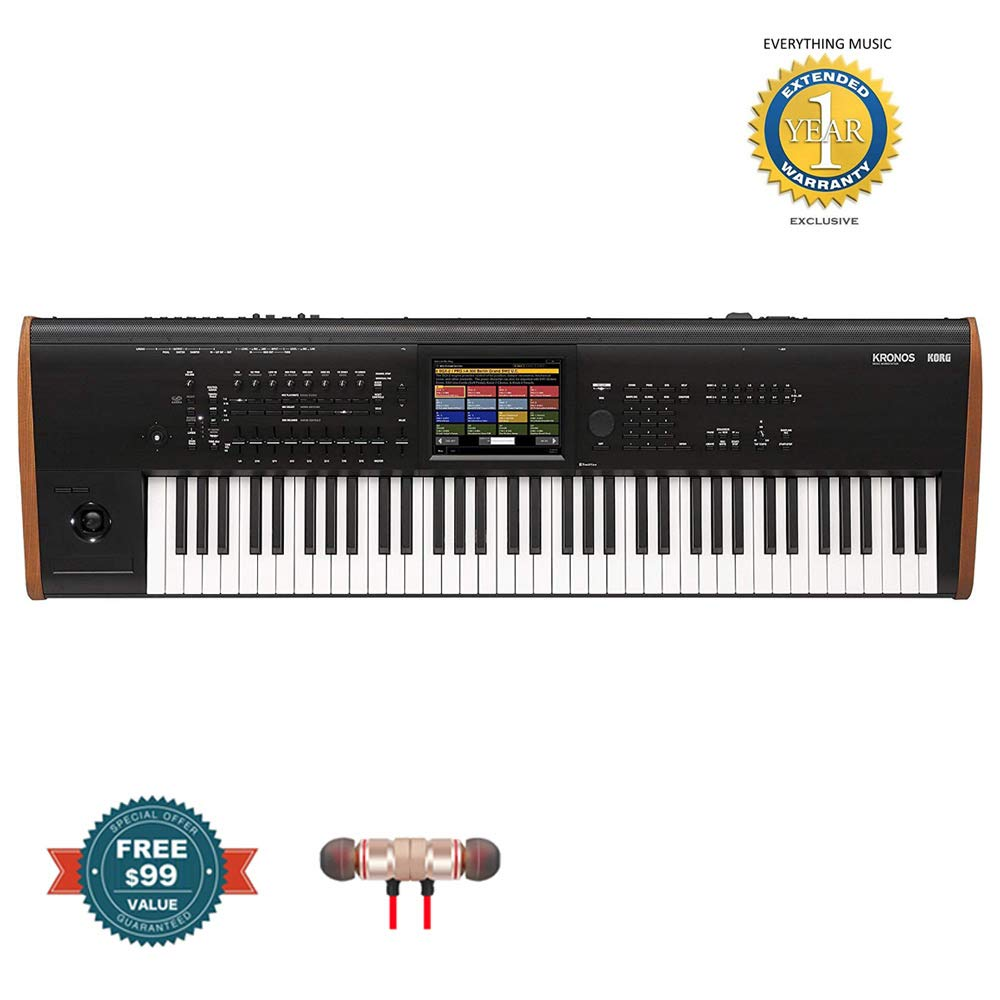 Korg KRONOS2 73 KEY (KRONOS7)includes Free Wireless Earbuds - Stereo Bluetooth In-ear and 1 Year Everything Music Extended Warranty by COR
