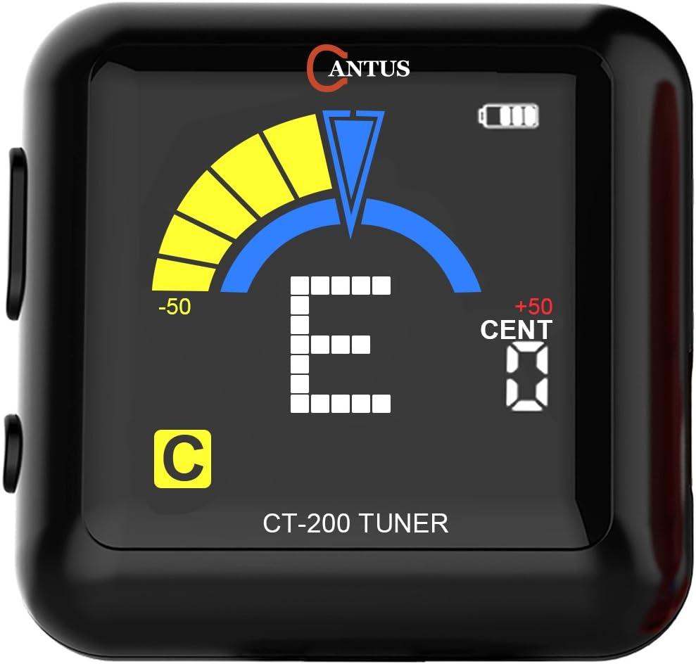 Sintonizador Afinador con clip recargable AROMA para bajo, guitarra, violín, ukelele. 360 grados giratorio con USB, negro