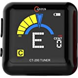 CANTUS Rechargeable Clip onTuner for Guitar/Bass / Ukulele/Violin /360 Degree Rotatable/with USB Cable to Recharge (black)