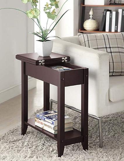 Modern Sofa Table Flip Top, Premium Quality, Metal Details, Espresso Color,  Easy