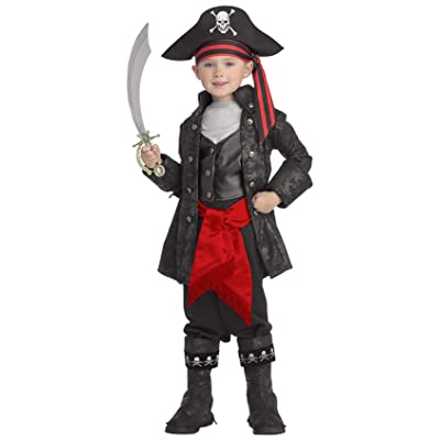 Pirates of the Seven Seas Child's Captain Black Costume, Small: Toys & Games