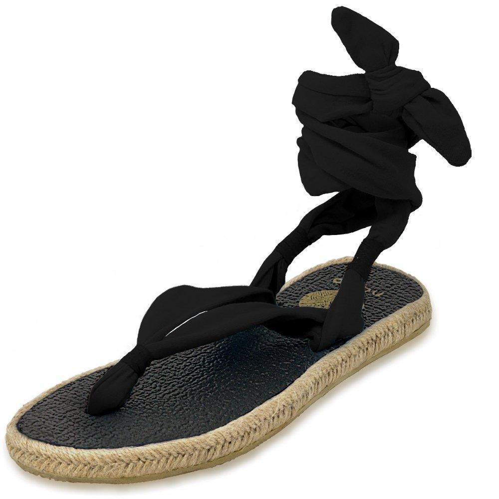 Nalho Women's Yoga Mat Espadrilles Sandals, Karabi Black 8