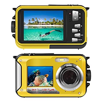 Underwater Camera Snorkelling 24.0 MP Waterproof Digital Camera Float Full HD 1080P Dual Screen Waterproof Action