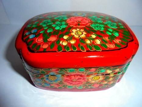 Dipingere Portagioie Di Legno : Artcollectibles india raro e bellissimo dipinto a mano jewelry box