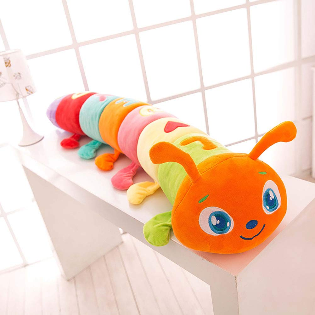 GJC Plüschspielzeug-Kissen Creative Cute Farbeful Caterpillar Kissen Kind Doll King Größe,Orange,55CM