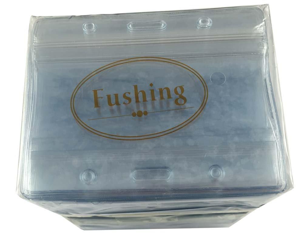 100 Pcs Clear Plastic Horizontal Name Tag Badge ID Card Holders by Fushing (Image #4)