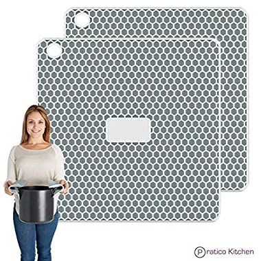 PratiPad PLUS 4-in-1 Multipurpose Silicone Pot Holders, Trivets, Jar Openers, & Spoon Rests - Extra Thick Protection - Set of 2 - Green Grey
