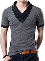 3ed81c5ae0ba Yong Horse Men s Fashion Stitch Slim Fit Muscle V Neck Button Short Sleeve  Cotton T Shirts