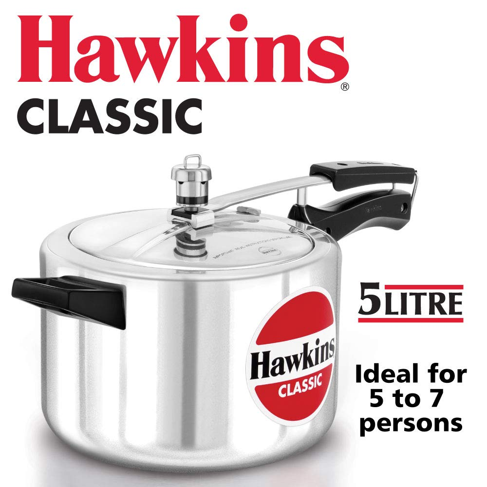 HAWKIN Classic CL50 5-Liter New Improved Aluminum Pressure Cooker, Small, Silver