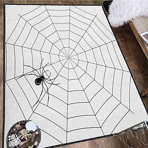 (Spider Web Modern Abstract Floor Mat,Toxic Poisonous Insect Thread Crawly Malicious Bug Halloween Character Design Waterproof and Easy Clean Black White)