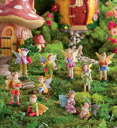Fairy Village Houses, Resin - Hand-painted - 9''H - Set of 5