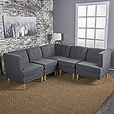Milltown 5pc Mid-Century Tufted Modular Sectional Sofa with Birch Wood Legs, Comfortable, Convertible & Interlocking Danish Modern Furniture Set - Navy Blue, Light or Dark Gray Fabric