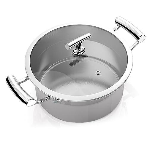 Olla de acero inoxidable 304 antiadherente para olla de cocina, base de 5 capas, todas las estufas son de diámetro universal: 25,4 cm: Amazon.es: Hogar