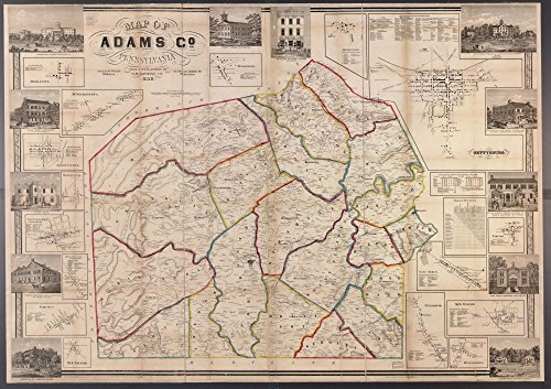 Vintage 1858 Map of Adams Co., Pennsylvania Adams County, Gettysburg, Pennsylvania, United States