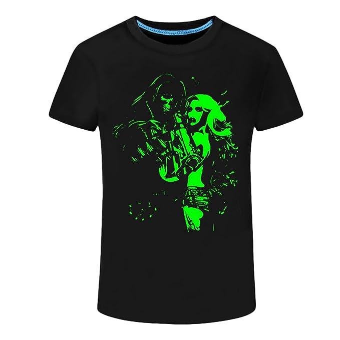 Jiayiqi Hombres 3D Impresión T-Shirt Camiseta Luminosa De Algodón t-Shirt Manga Corta Camisetas M-2XL 9WI6gmZ4Jg