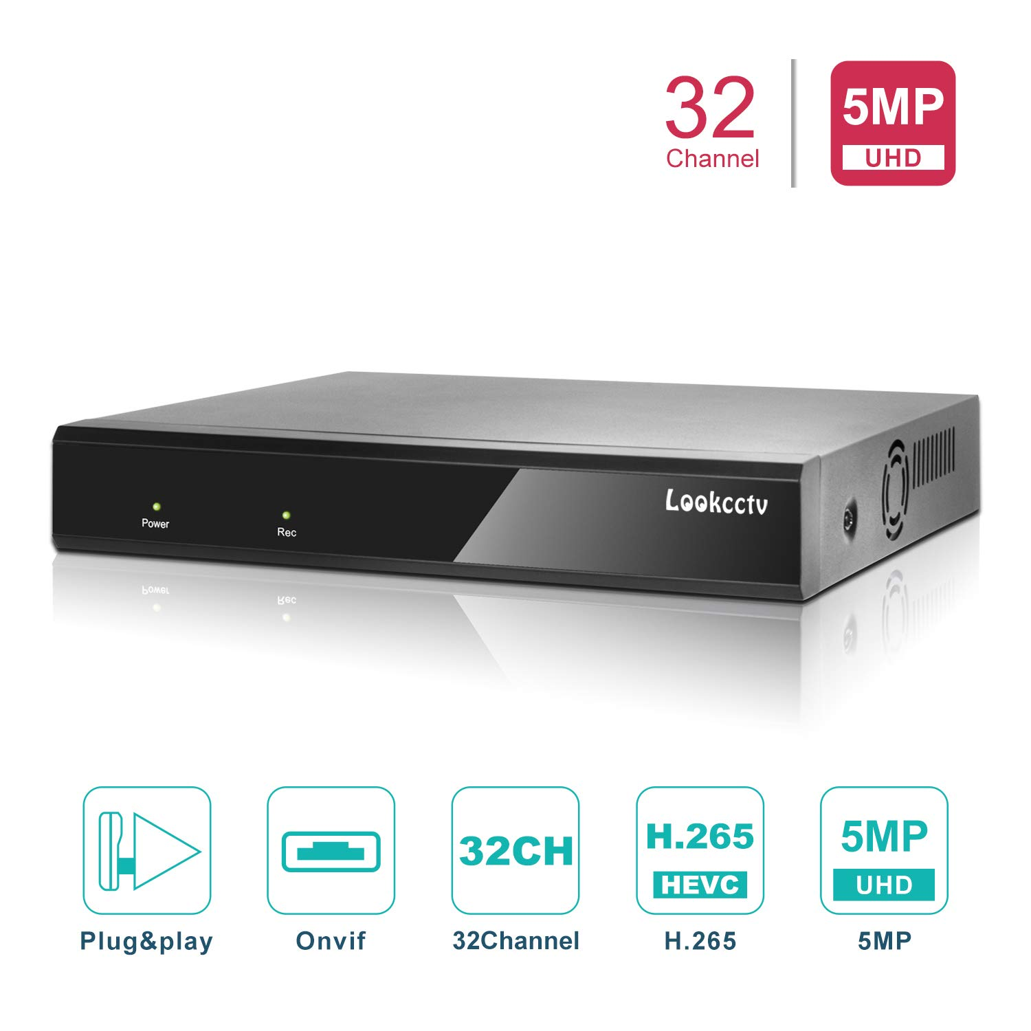 lookcctv 5MP 32CH H.265 Security NVR Network Video Recorder, 32-Channel, Supports 5MP/4MP/1080P IP Camera (NO HDD&Cameras),Remote Smartphone Access/P2P Cloud/Motion Detection Email Alert by lookcctv