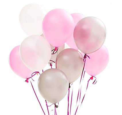 PartyWoo Pink And White Balloons 100 Pcs 12 Inch Light Silver