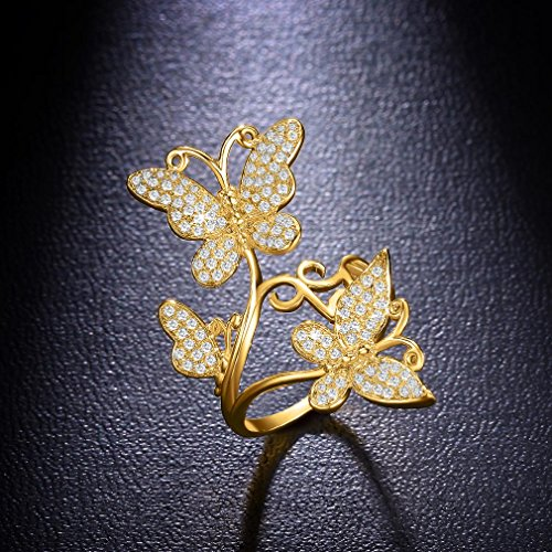 Bella Lotus Delicate Butterflies 18k Yellow Gold Plated CZ Paved Rings, Size 5.5 by SHINCO (Image #5)