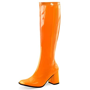 fc628a7ef8f2 Womens Go Go Boots Fun Neon Orange Knee High Shoes Side Zipper 3 Inch Heels  Size
