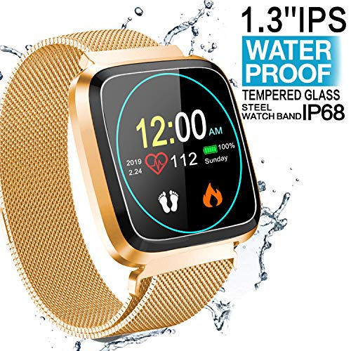 Fitness Tracker Watch for Women Men – Waterproof Activity Smart Watch with Blood Pressure Heart Rate Monitor, Sport Outdoor Running GPS Tracker Pedometer Calorie Sleep Monitor for Mom Birthdays Gifts