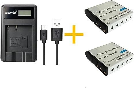 Powerextra 2 X Batería Y Doble Cargador De Lcd Para Fujifilm Np-45A Np-45B Np-45S F