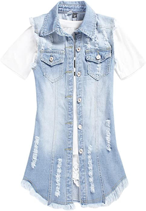 4e49510b5f891b Women Casual Sleeveless Destroyed Denim Cowboy Jacket Loose Fit Long Tops  Buttoned Washed Jeans Shirt Waistcoat. Back. Double-tap to zoom