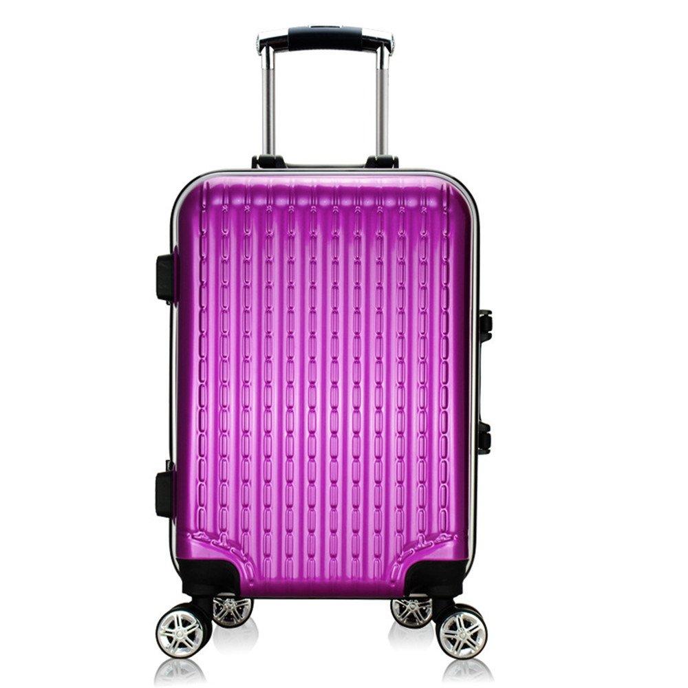 軽量スーツケース トローリースーツケーススーツケースユニバーサルホイールアルミフレームトロリーケースジッパー20/24/28インチ 旅行スーツケース (色 : 紫の)  紫の B07RBVZ64Q