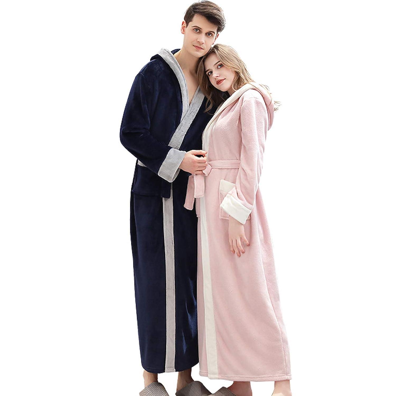 Elonglin Long Peignoir de Bain /à Capuche Femme Homme Velours Robe de Bain /épaisse en Flanelle V/êtements de Nuit Polaire Grande Taille