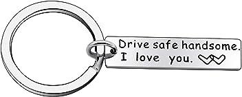 Guida sicura ti amo Uomo Donna Portachiavi ad anello e catena regal doni per fidanzato amichetto marito moglie mamma papa Drive Safe I Love You