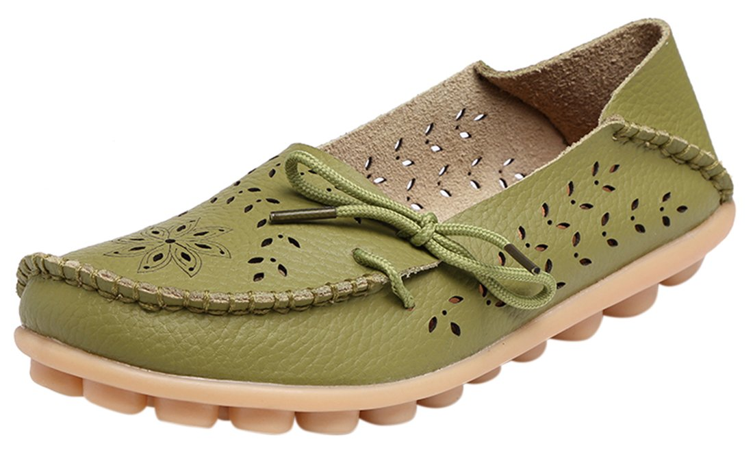 UJoowalk Women's Army Green Casual Cowhide Leather Hollow Out Driving Loafer Shoes Boat Flats - Size 6