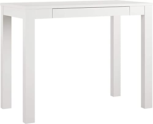 AmazonBasics Wooden Desk with Drawer – 39-Inch, White, BIFMA Certified