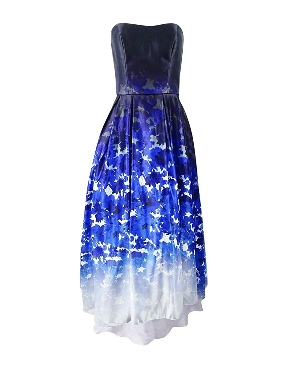 bluee Multi Betsy & Adam Women's Ombre Printed Strapless Ballgown
