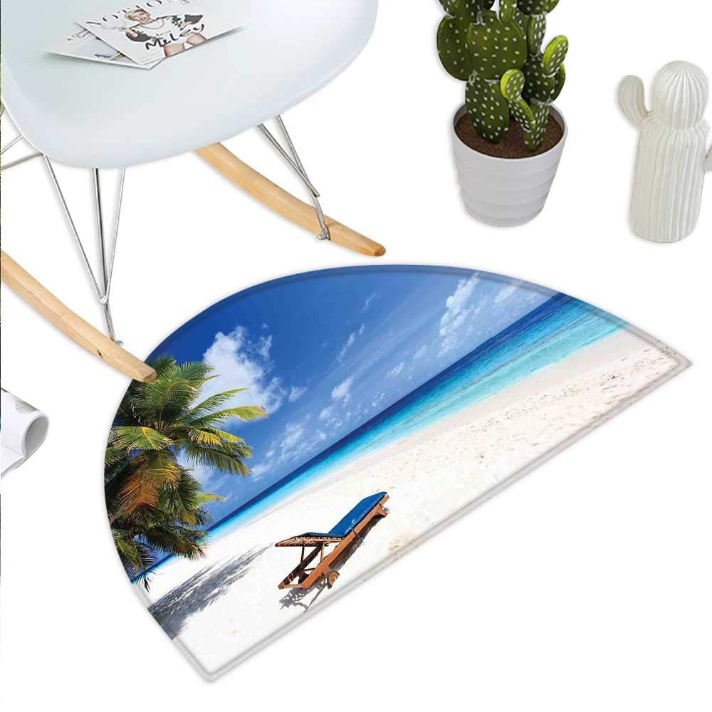color03 H 43.3  xD 64.9  Seaside Half Round Door mats Umbrella and Chairs on Tropical Beach Summer Vacation Destination Image Bathroom Mat H 27.5  xD 41.3  orange Green and bluee