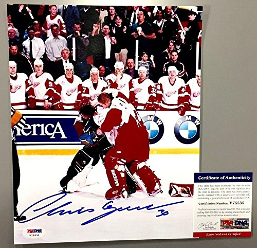 Chris Osgood Vs Patrick Roy Signed 8x10 Fight Photo Detroit Red Wings Coa - PSA/DNA Certified