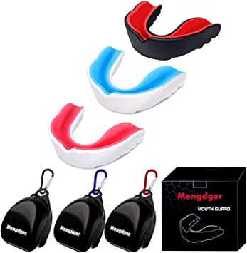 Type2 Zivisk 5 Pack Youth Mouth Guard Sports Mouth Guard for Kids Double Colored Kids Gum Shield for Football Basketball Boxing MMA Hockey with Free Case