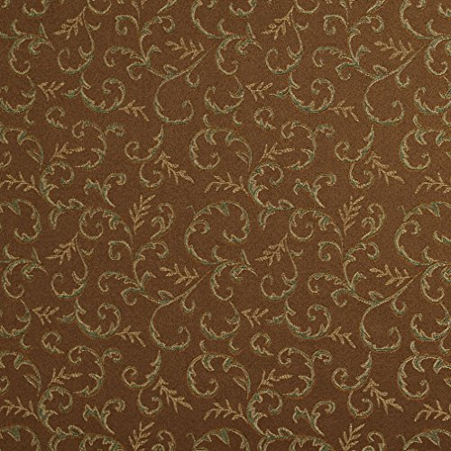 (E646 Abstract Floral Brown Green and Gold Damask Upholstery and Window Treatment Fabric by The Yard )