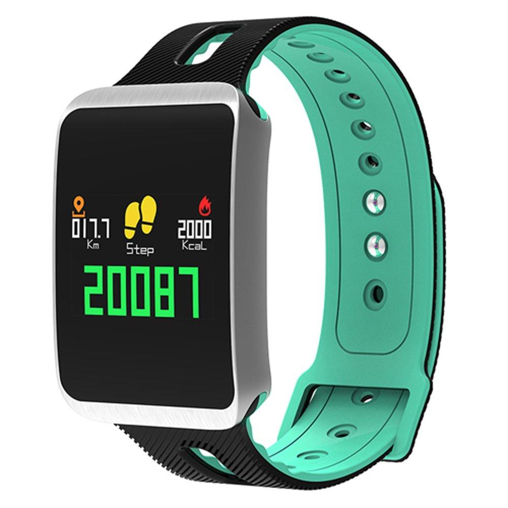 C-Xka Smartwatch, Rastreador de Ejercicios Impermeable, Monitorización del Sueño, Presión Arterial y Función de Oxígeno con Pantalla Colorida para iOS Smartphone con Android (Color : E) Monitorización del Sueño XXN