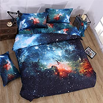 BYU 3D Printing Nebala Outer Space Galaxy Cosmic Explosion Bedding Set 4-piece Polyester Cotton Duvet Cover Flat Sheet with 2 Pillowcases