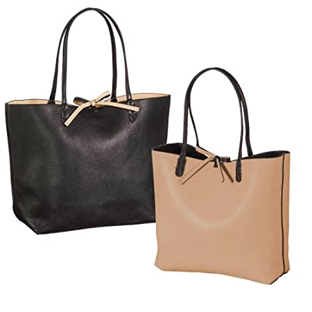 7f0cef86 Black and Tan Reversible Ting Tote Bag: Amazon.co.uk: Kitchen & Home