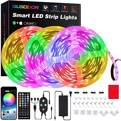 50 Feet Led Strip Lights , Gusodor Smart Led Lights For Bedroom Music Sync Rope Lights Flexible DIY Led Light Strips Color Changing With 40 Key Remote App Control Tape Led Light For Party Home