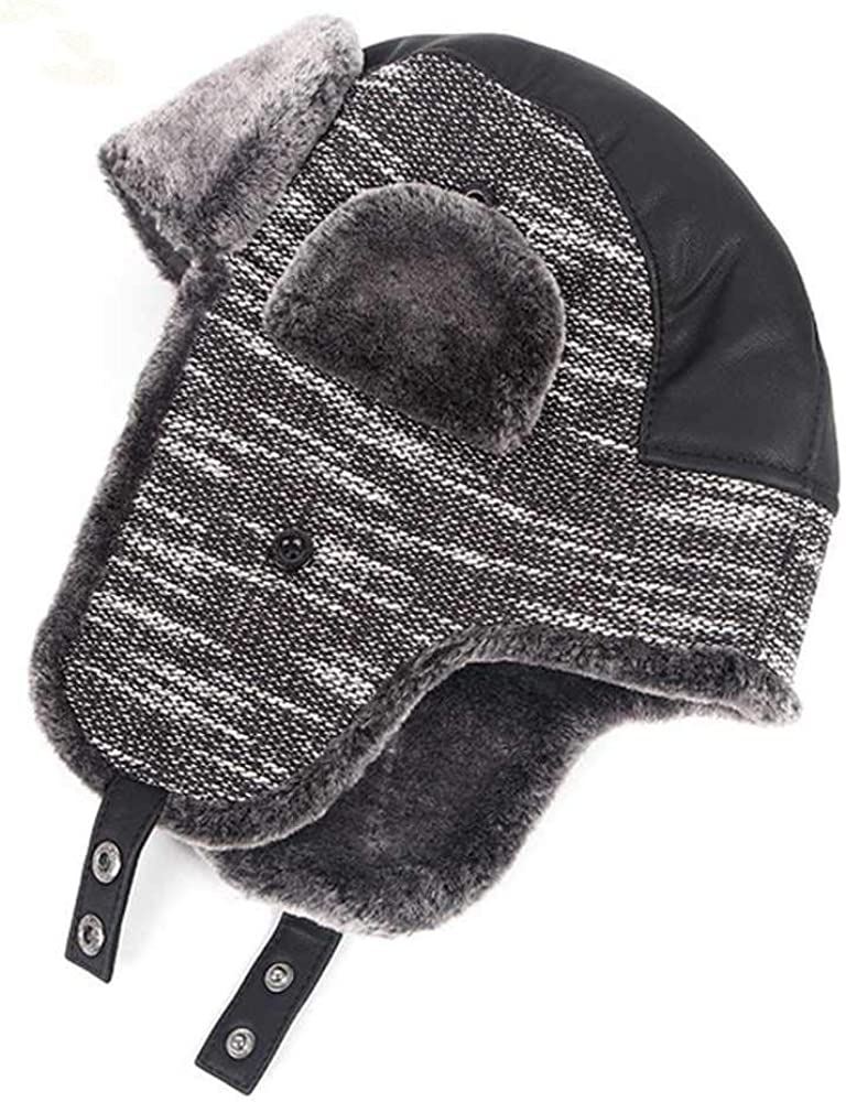 Nuevos Sombreros de Bombardero Hombres de Invierno Cálido Sombrero Ruso Ushanka con orejera Solapa de Cuero de Cuero PU Trapper Cap Earflap