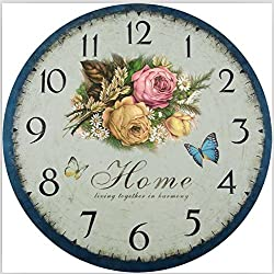 Romantic Sweet Roses Clock, 14 Eruner Rustic Floral Style Wall Clock *Home* Wooden Art Decor Non-Ticking Bedroom Study Desk Home Decoration(C-60)
