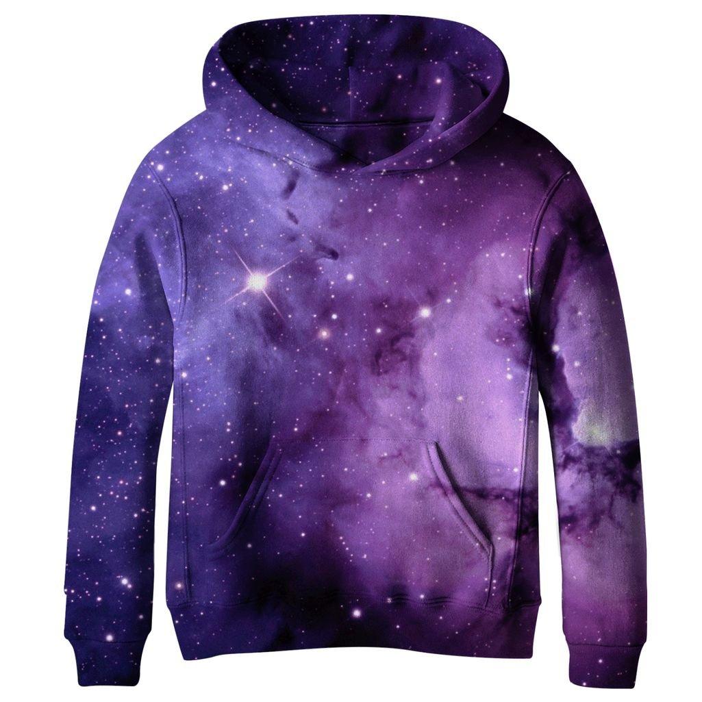 COIKNAVS Teen Girls Boys Galaxy Fleece Sweatshirts Pockets Pullover Hoodies CEE004