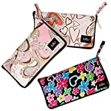 BMC Mixed Design Washable Foldable Wallet Style Nylon Reusable Grocery Bags Tote - (Doodle Time) Set of 3