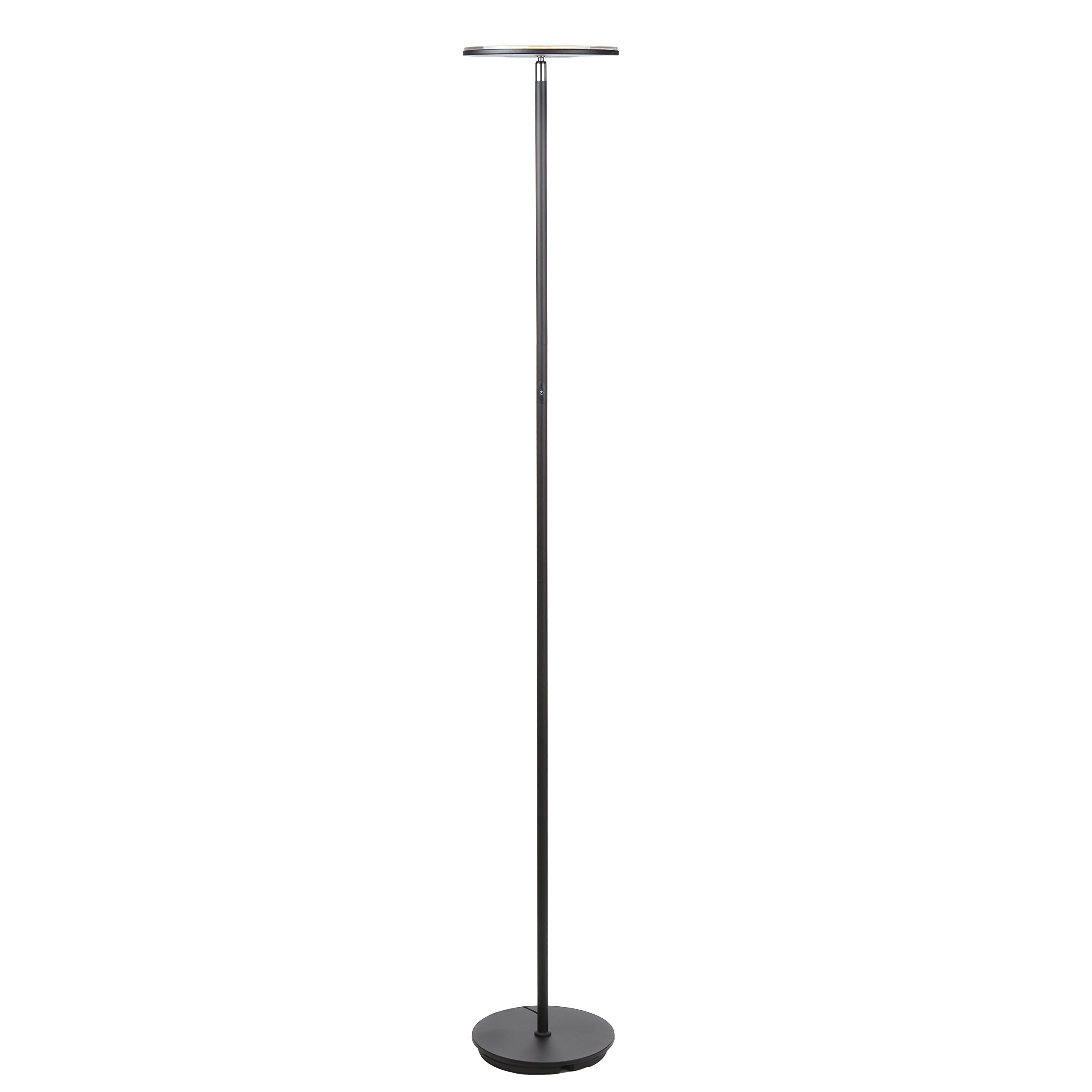 Brightech Sky LED Torchiere Super Bright Floor Lamp - Tall Standing Modern Pole Light for Living Rooms & Offices - Dimmable Uplight for Reading Books In your Bedroom etc - Black