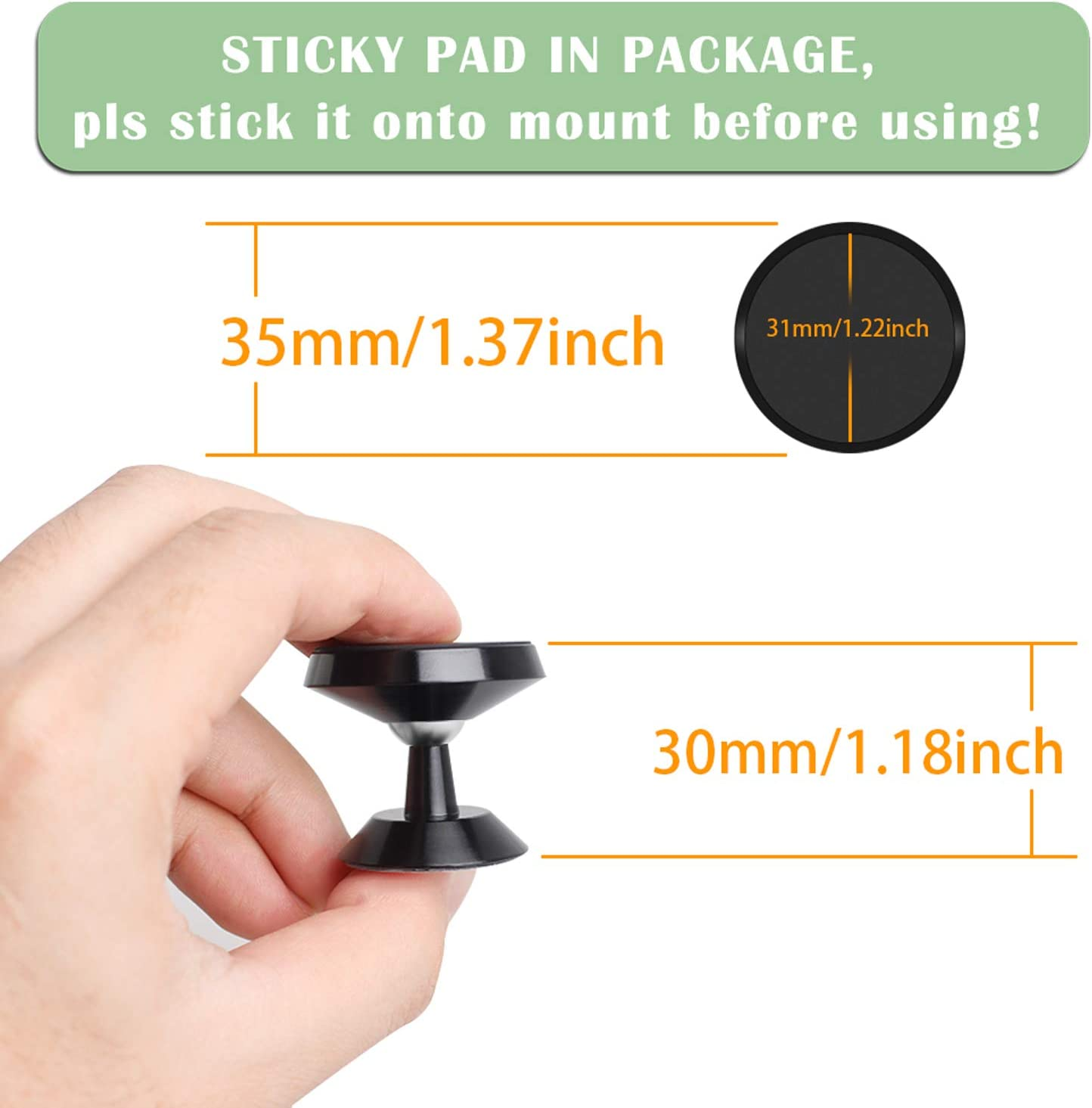 QveeQ Magnetic Car Mount for Echo Auto 360 Rotation Bracket Stick on Holder Car Accessories Universal Dashboard Car Mount with Adhesive Pad