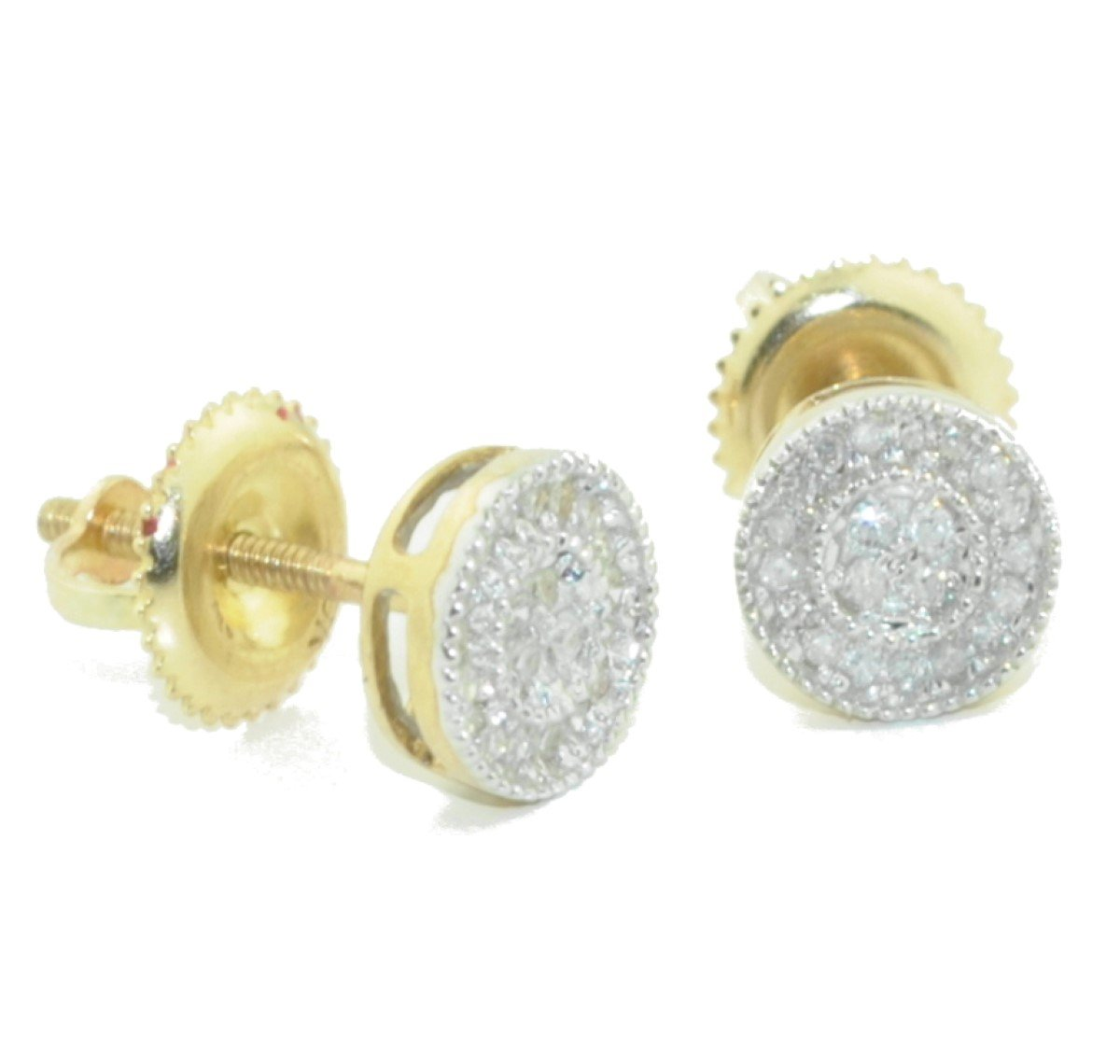 0.14 Cttw Pave Diamonds Round Stud Earrings 10k Yellow Gold Screw Back 6.5mm wide