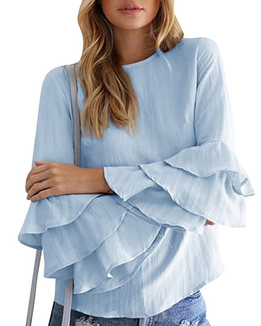 Mujer Camiseta Mangas Largas Volantes Lunares Blusa Elegante Noche Casual Oficina Azul Claro S