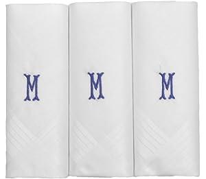 R Mens//Gentlemens 3 Pack Plain White Handkerchiefs With 1 Letter Name Initials